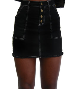 black denim high waisted stitched skirt
