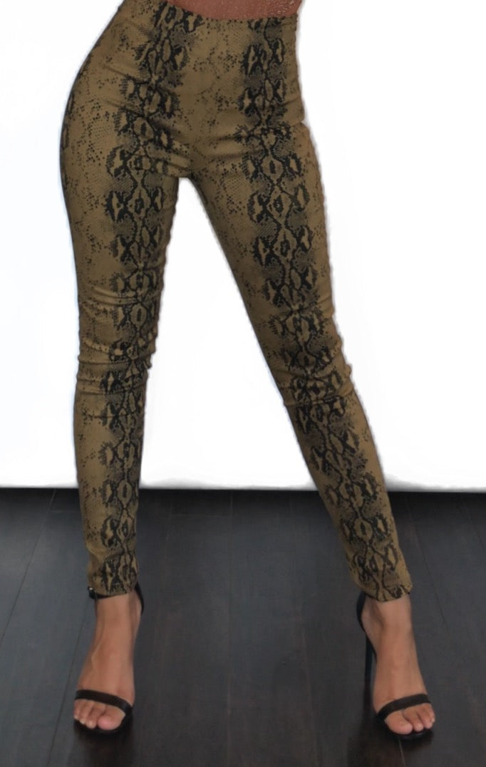 womens brown snakeskin print high waisted pants