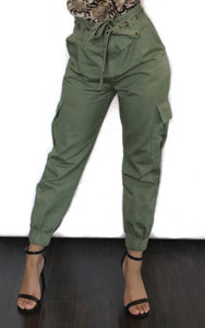 higg waisted womens belted green cargo pants