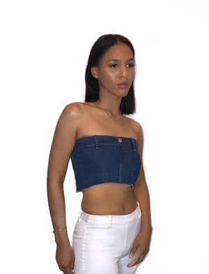denim jean crop top waist belt tube top