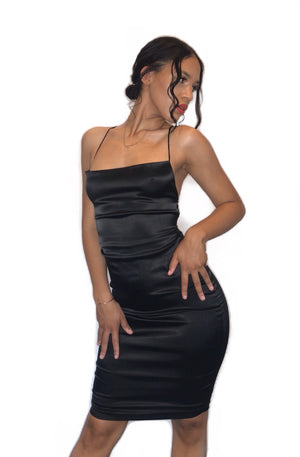 sexy black tie up satin dress