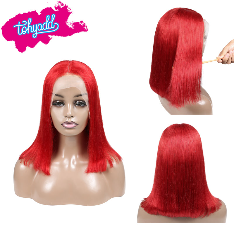 TOHYADD PrePlucked Red #1B Bob Human Hair Transparent HD Lace Wig