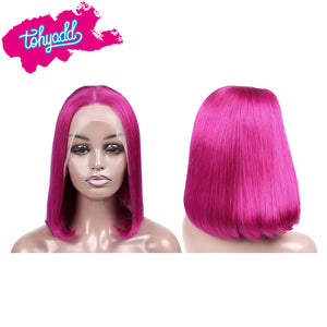 TOHYADD PrePlucked Rose Pink #1B Bob Human Hair Transparent HD Lace Wig