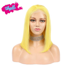 TOHYADD PrePlucked Yellow #1B Bob Human Hair Transparent HD Lace Wigs