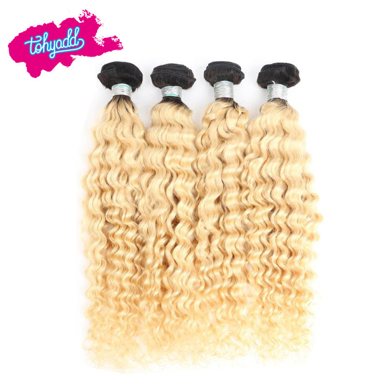 TOHYADD 1/2/3/4 Bundle Deals Double Drawn Weaving Blonde Curly Human Hair