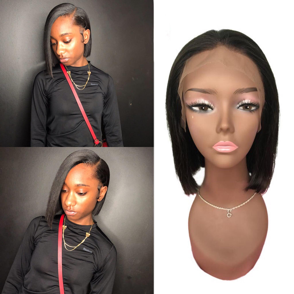 Tohyadd Transparent/Regular Swiss Lace Full Lace Wig/Lace Front Wig Bob Hair Natural Color