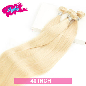 TOHYADD 40 Inch Bundle Deals Blonde Straight Human Hair Extensions