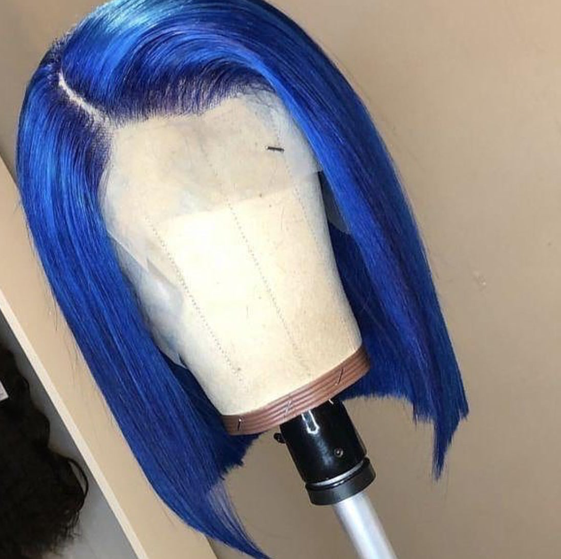 TOHYADD PrePlucked Blue #1B Bob Human Hair Transparent HD Lace Wig