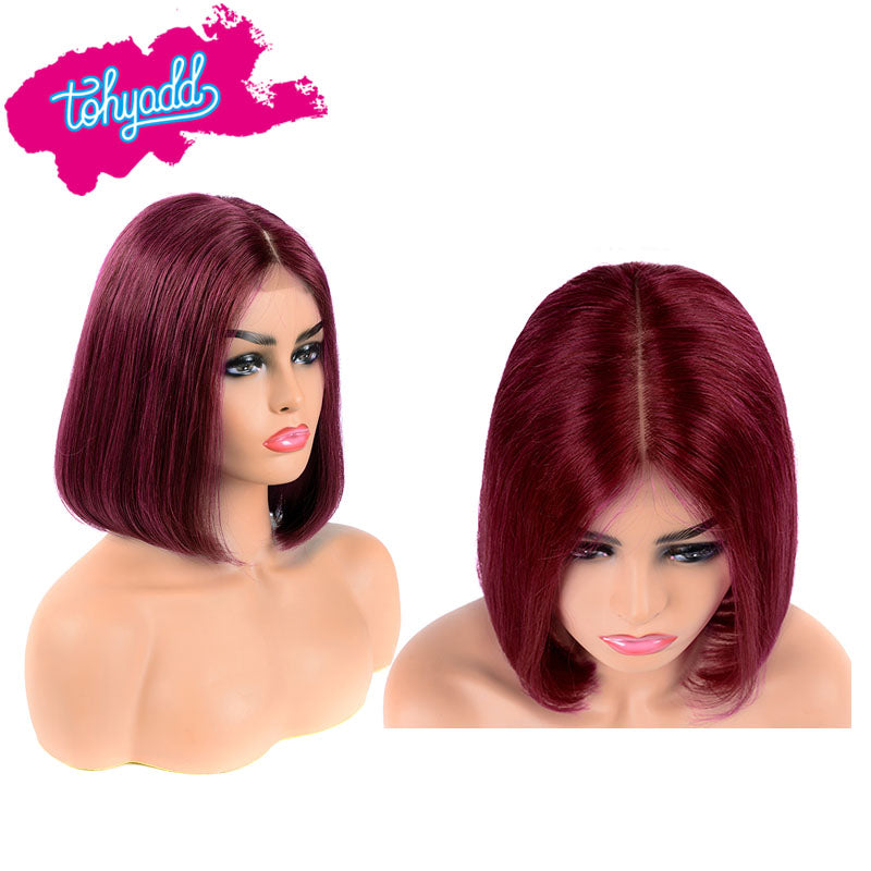 TOHYADD PrePlucked Burgundy #1B Bob Human Hair Transparent HD Lace Wig
