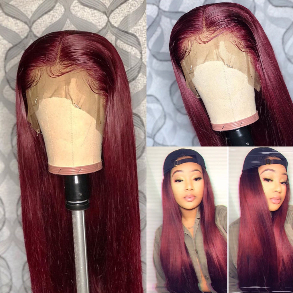 TOHYADD PrePlucked Burgundy Transparent HD Full Lace Wig