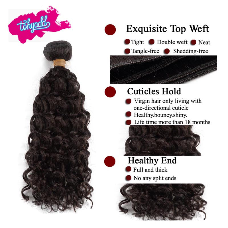 TOHYADD 1/2/3/4 Bundle Deals Cuticle Aligned Remy Curly Hair Extensions