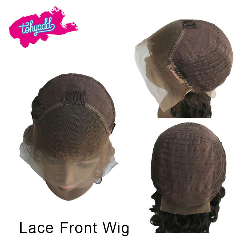 TOHYADD PrePlucked Bob Curly Unprocessed Human Hair Transparent HD Lace Wig