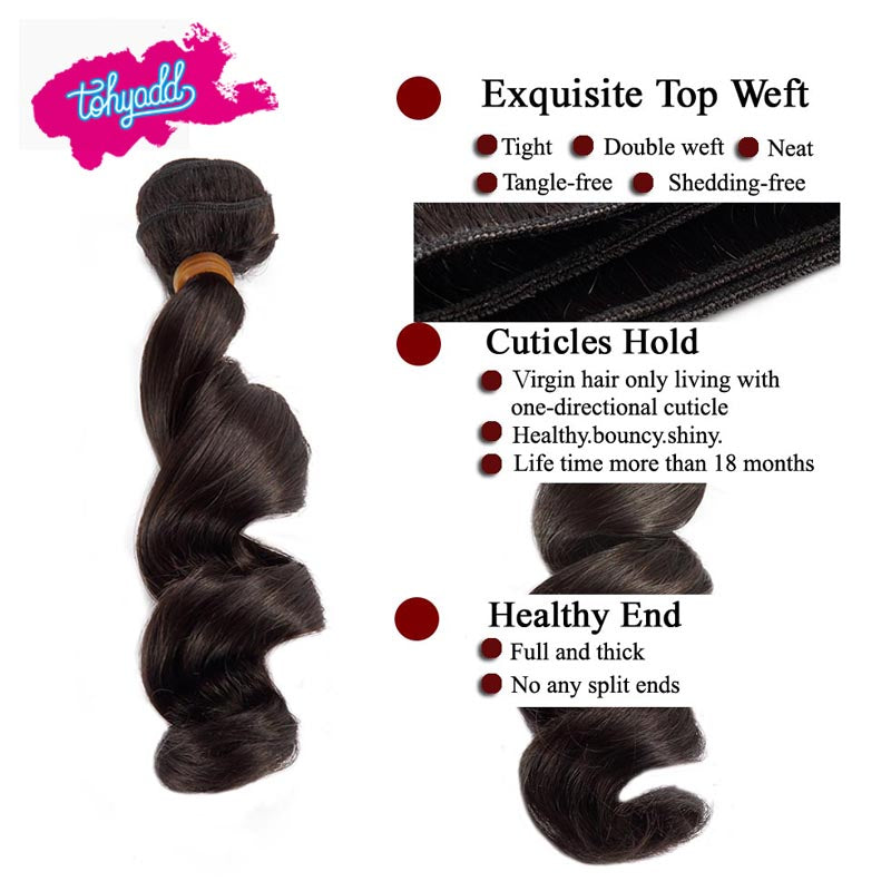 TOHYADD 1/2/3/4 Bundle Deals Remy Loose Wave Virgin Hair Extensions
