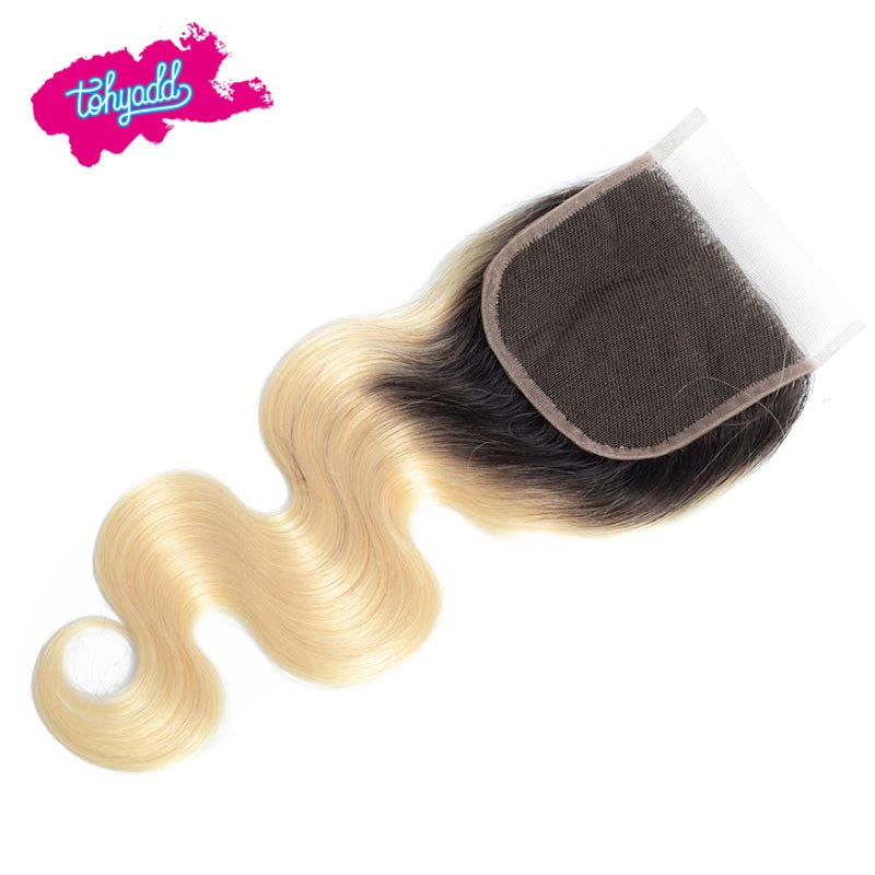 TOHYADD Blonde Body Wave PrePlucked Transparent HD Lace Closure Frontal Human Hair