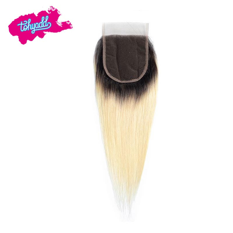 TOHYADD Blonde Straight PrePlucked Transparent HD Lace Closure Frontal Human Hair