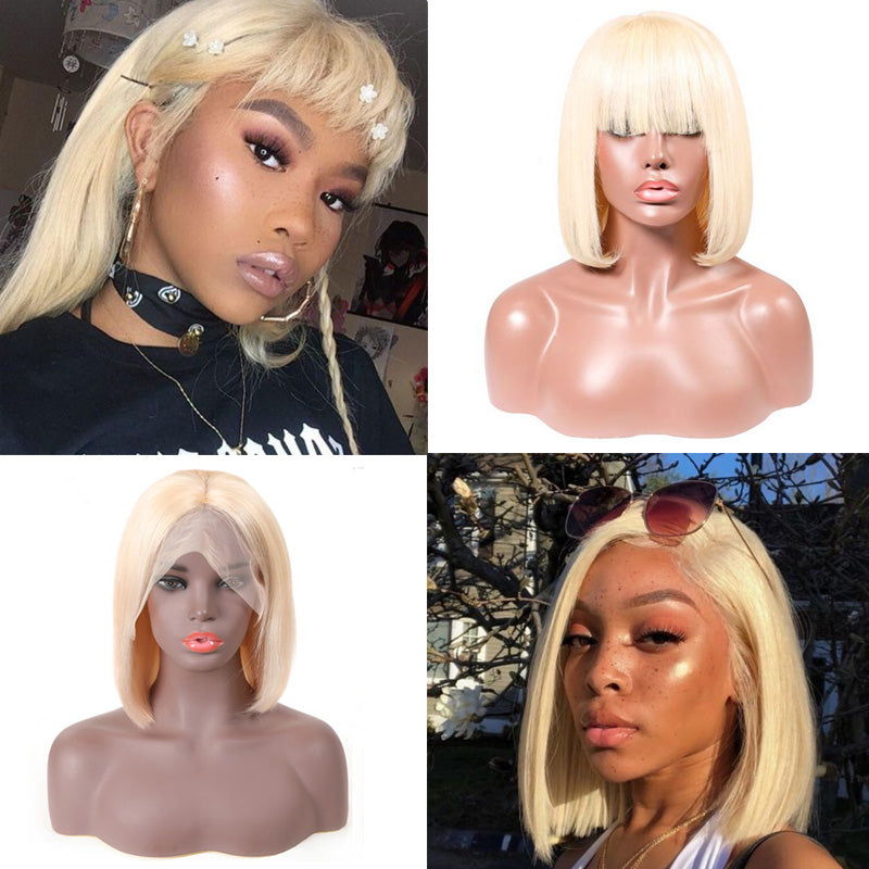 Tohyadd Transparent Swiss Lace Full Lace Wig/Lace Front Wig Blonde Bob Hair