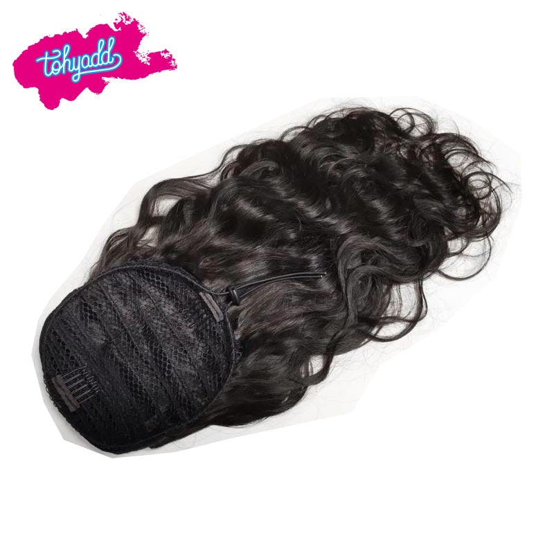 TOHYADD 1/2 Pcs Raw Human Hair Curly/Body Wave/Straight/Kinky Curly Ponytail
