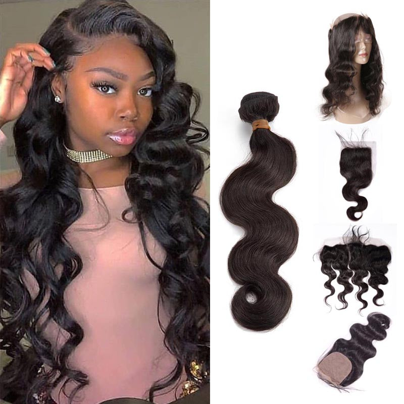 TOHYADD 3 Bundles With a Transparent HD Lace Closure Frontal Raw Body Wave Hair