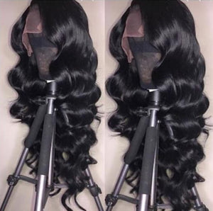 TOHYADD PrePlucked Body Wave Unprocessed Human Hair Transparent HD Lace Wig