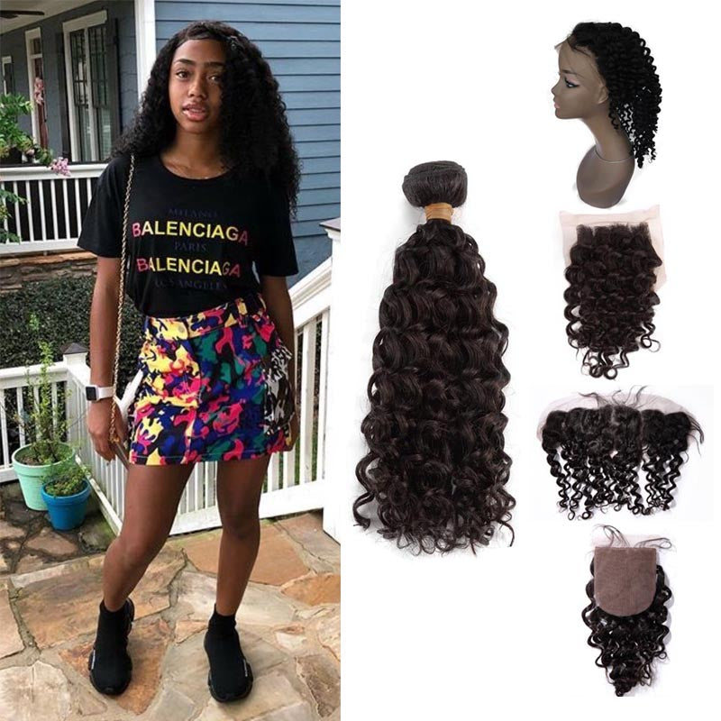 TOHYADD 3 Bundles With a Transparent HD Lace Closure Frontal Curly Remy Hair