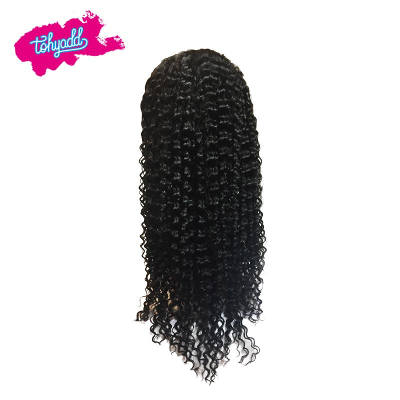 TOHYADD PrePlucked Remy Curly Hair Transparent HD Lace Wig