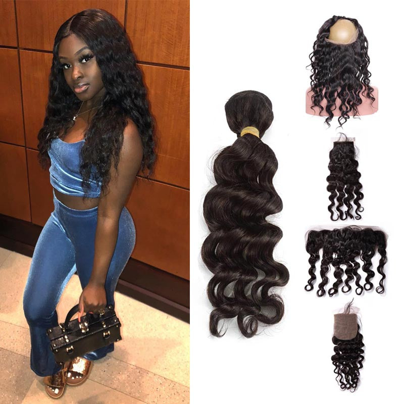 TOHYADD 3 Bundles With a Transparent HD Lace Closure Frontal Deep Wave Virgin Hair
