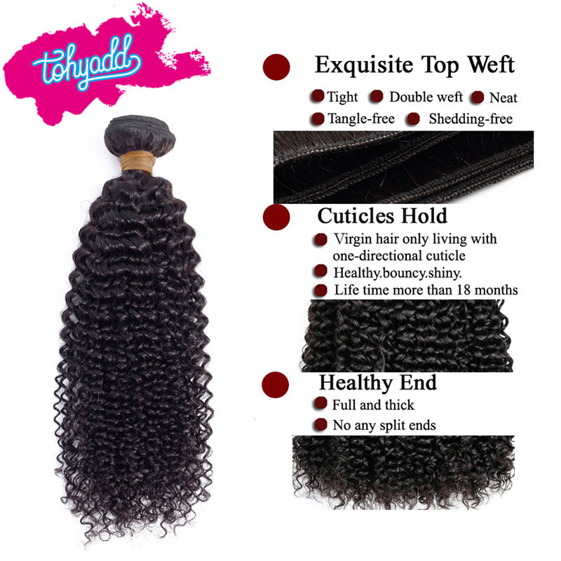 Tohyadd 4/3/2/1 Bundle Deals Kinky Curly Hair Natural Color