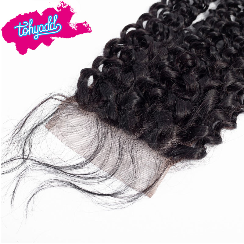 TOHYADD 3 Bundles With a Transparent HD Lace Closure Frontal Kinky Curly Human Hair