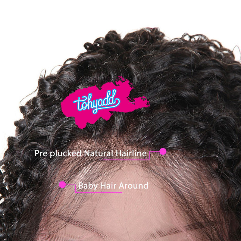 TOHYADD PrePlucked Kinky Curly Remy Cuticle Aligned Hair Transparent HD Lace Wig