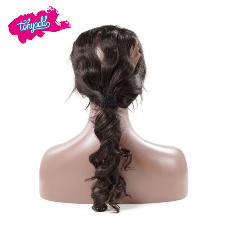 TOHYADD PrePlucked Transparent HD Lace Closure Frontal Loose Wave Human Hair