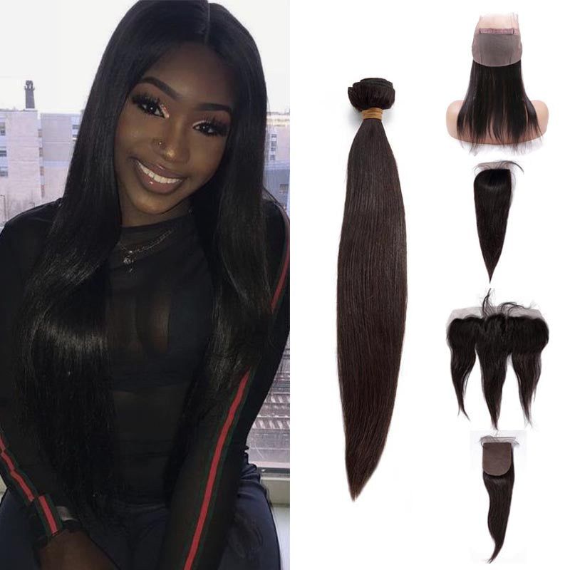 TOHYADD 3 Bundles With a Transparent HD Lace Closure Frontal Straight Virgin Hair