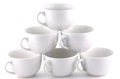 Gourmet Extra Large White Mugs- set of 6- 18 oz - Amuse Home