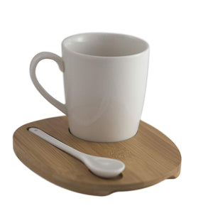 Aquarelle- Round Mug with Bamboo Tray and Spoon (12 oz.)- Gift Box (White) - Amuse Home