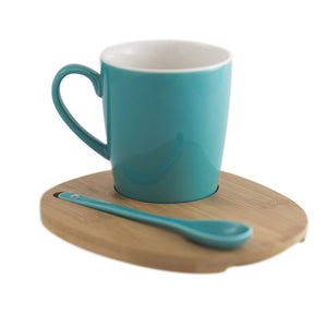 Aquarelle- Round Mug with Bamboo Tray and Spoon (12 oz.)- Gift Box (Turquoise) - Amuse Home