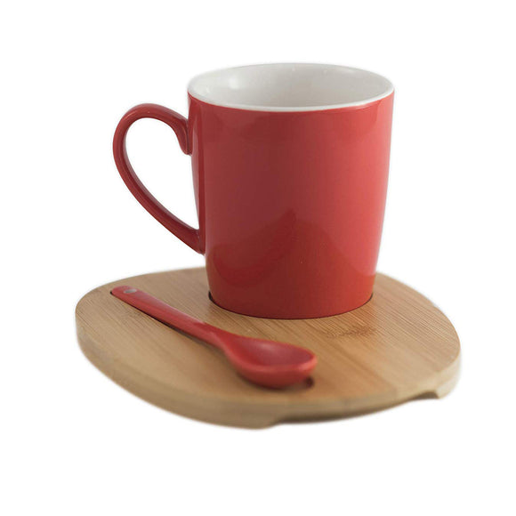Aquarelle- Round Mug with Bamboo Tray and Spoon (12 oz.)- Gift Box (Red) - Amuse Home