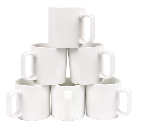 Gourmet Large White Mugs- set of 6- 15 oz - Amuse Home