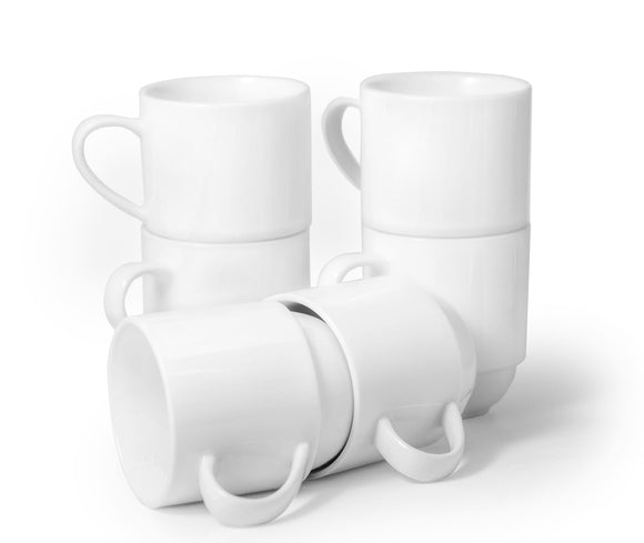 Professional Barista Classic Stackable Mug- Set of 6- 11 oz - Amuse Home