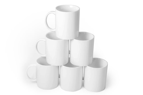 Gourmet White Mugs- set of 6- 14 oz - Amuse Home