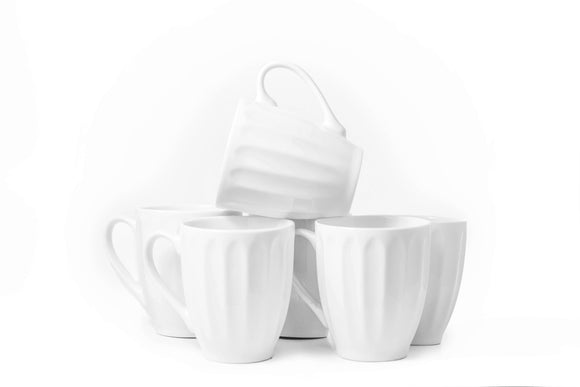 Bistro Collection Fluted Mugs- Set of 6-12 oz - Amuse Home