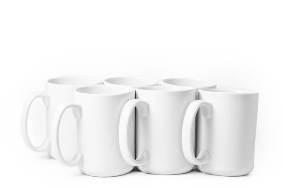 Sublimation Series- Professional Grade Stoneware Mug- Set of 6-15 oz - Amuse Home