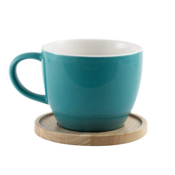 Aquarelle- Grande Porcelain Mug with Bamboo Lid (17 oz.)- Gift Box (Turquoise) - Amuse Home