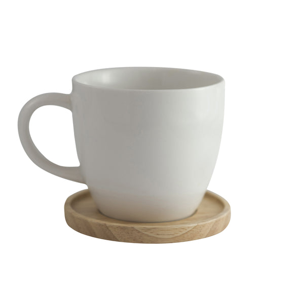 Aquarelle- Grande Porcelain Mug with Bamboo Lid (17 oz.)- Gift Box (White) - Amuse Home