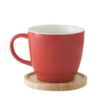 Aquarelle- Grande Porcelain Mug with Bamboo Lid (17 oz.)- Gift Box (Red) - Amuse Home
