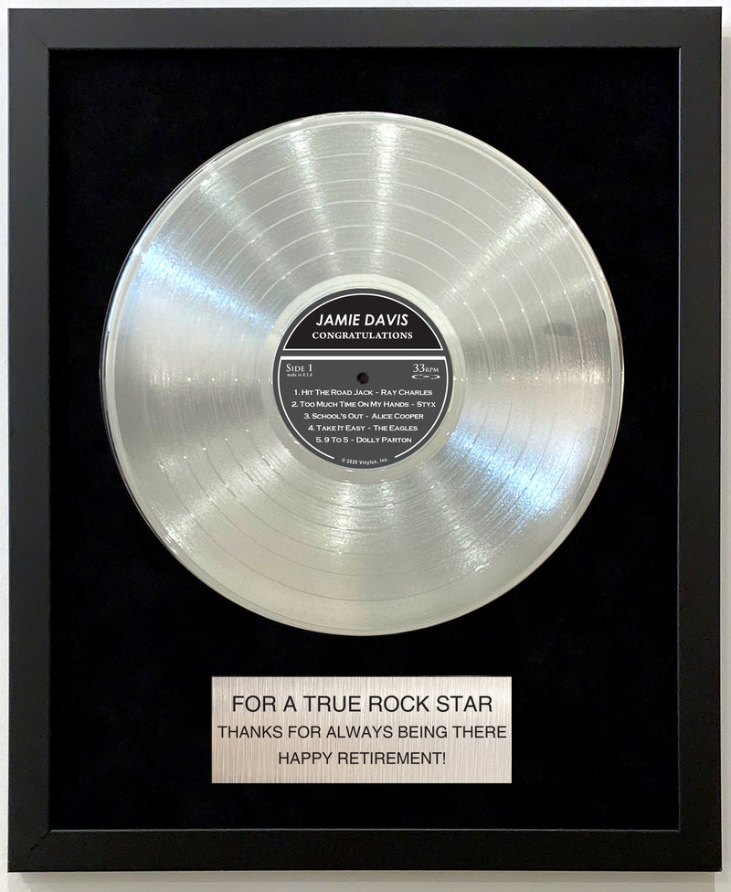 PERSONALIZED Framed Platinum LP Record with Customized Plaque