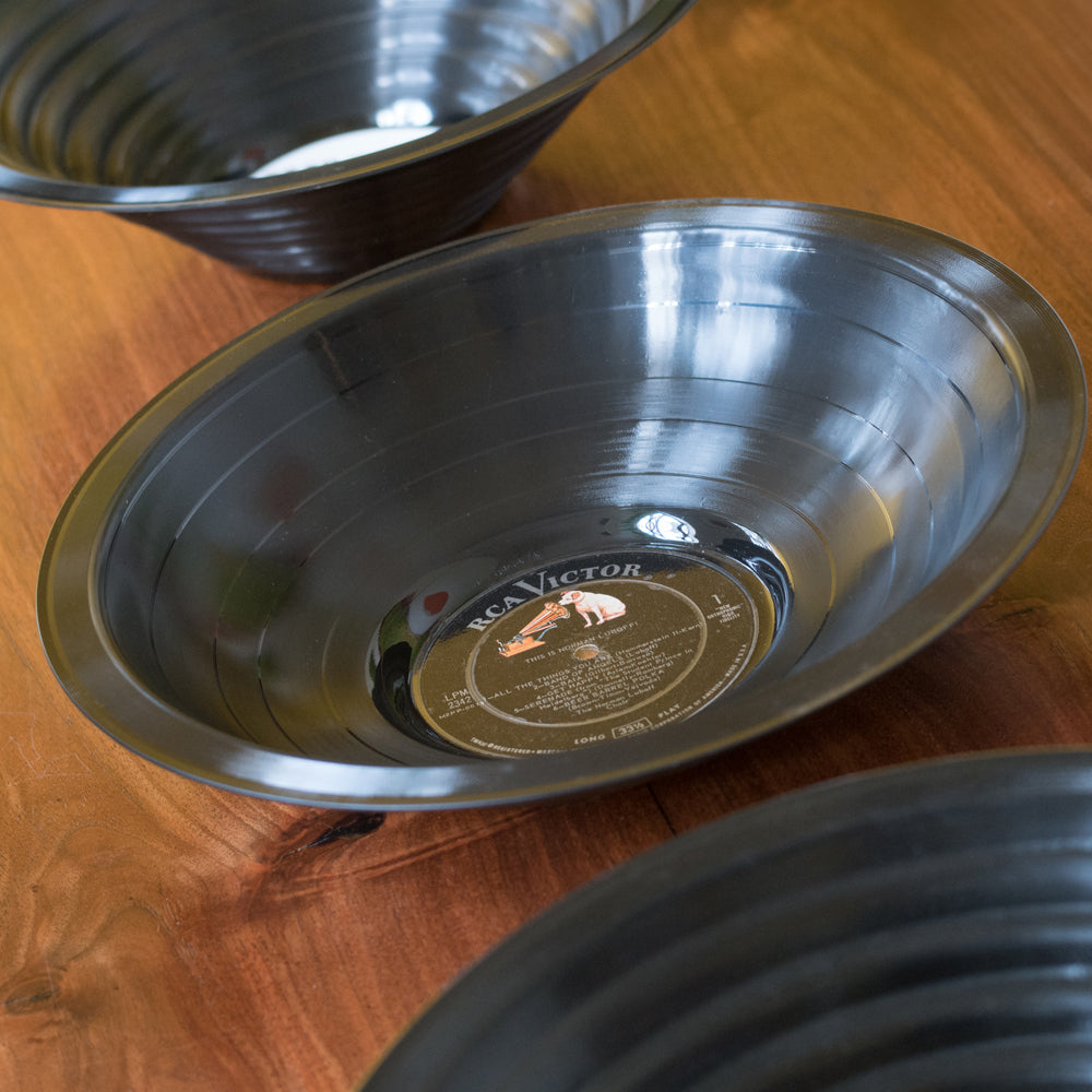 Vintage Vinyl Recycled Stepped Record Bowl