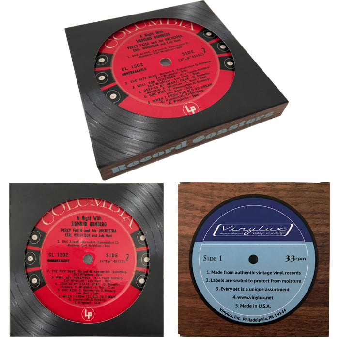 Vintage Recycled Record Label Coasters - Wholesale Case Pack of 6 Sets