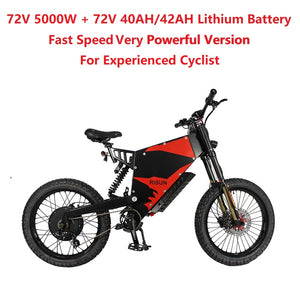 EU/USA Duty Free Hallomotor 72V 5000W 100A FC-1 Stealth Bomber eBike Electric Bicycle With Bicycle or Motorcycle Seat