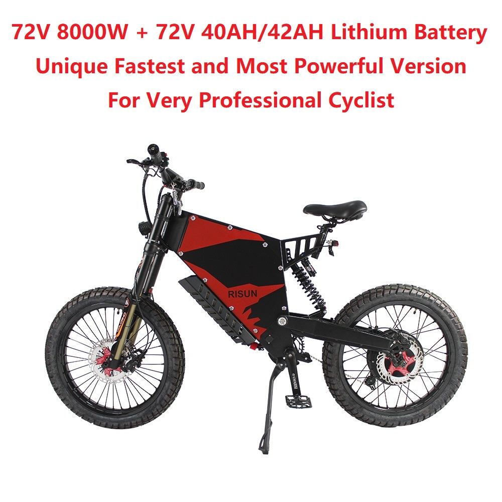 EU/USA Duty Free Hallomotor Unique 72V 8000W 150A FC-1 Stealth Bomber eBike Electric Bicycle With Bicycle or Motorcycle Seat