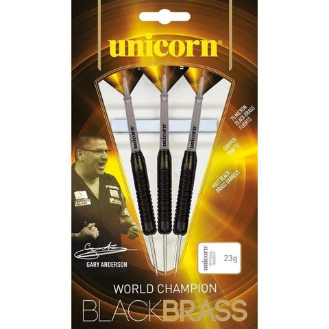 Gary Anderson Darts Black Brass Style 1 Steel Tip Unicorn Darts 23g 25g and 27g
