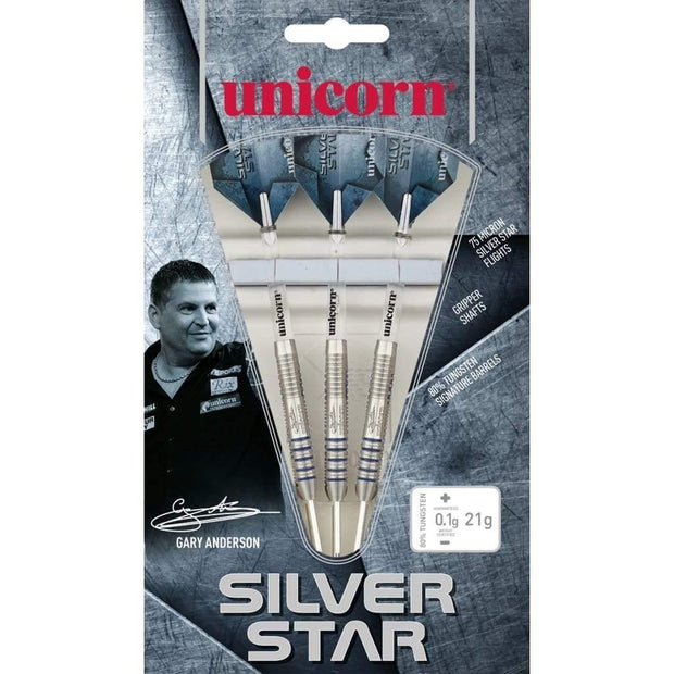 Gary Anderson Darts Silver Star Style 4 Steel Tip Unicorn Darts 21g 23g 25g and 27g